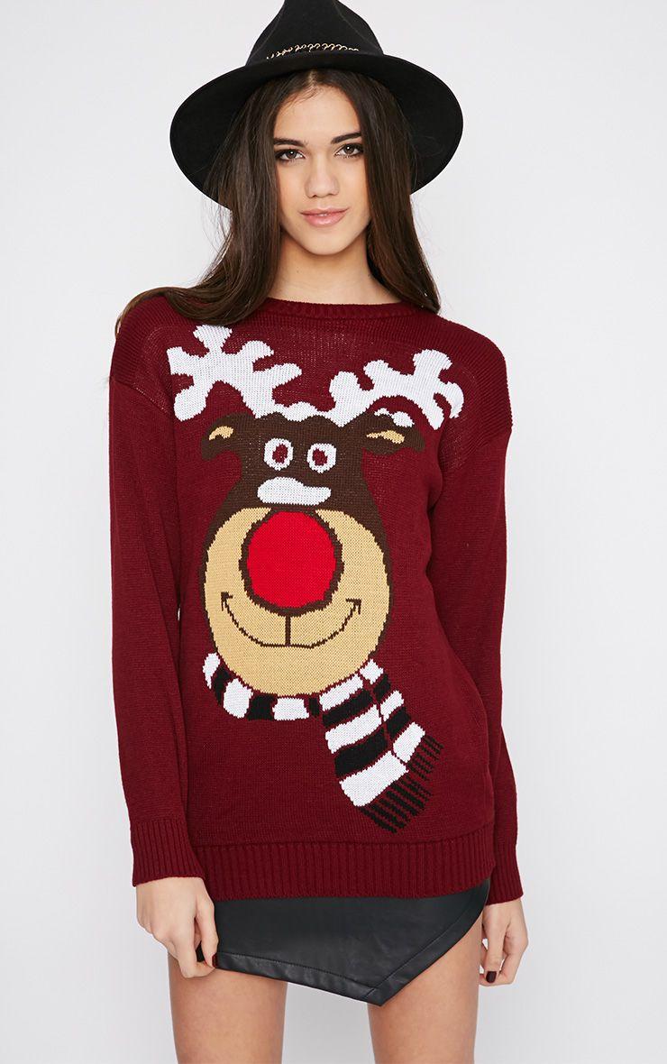 Halona Wine Rudolph Christmas Jumper 1