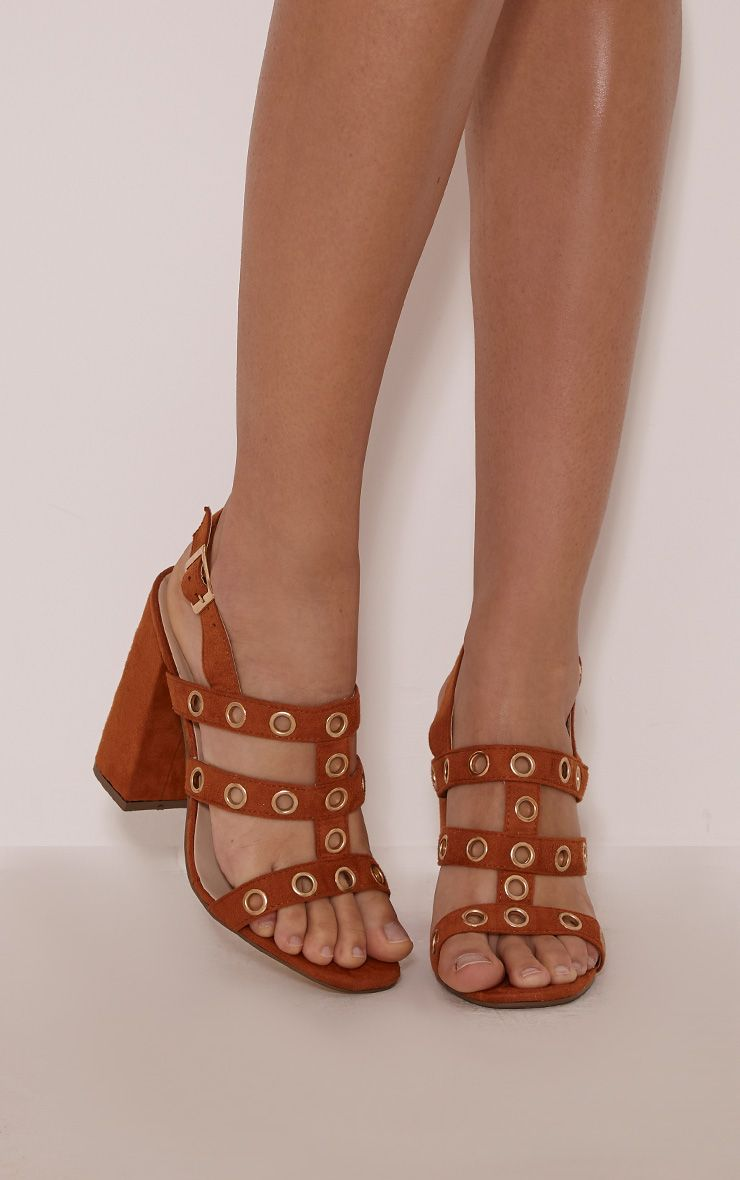 Ray Tan Faux Suede Eyelet Detail Heeled Sandals