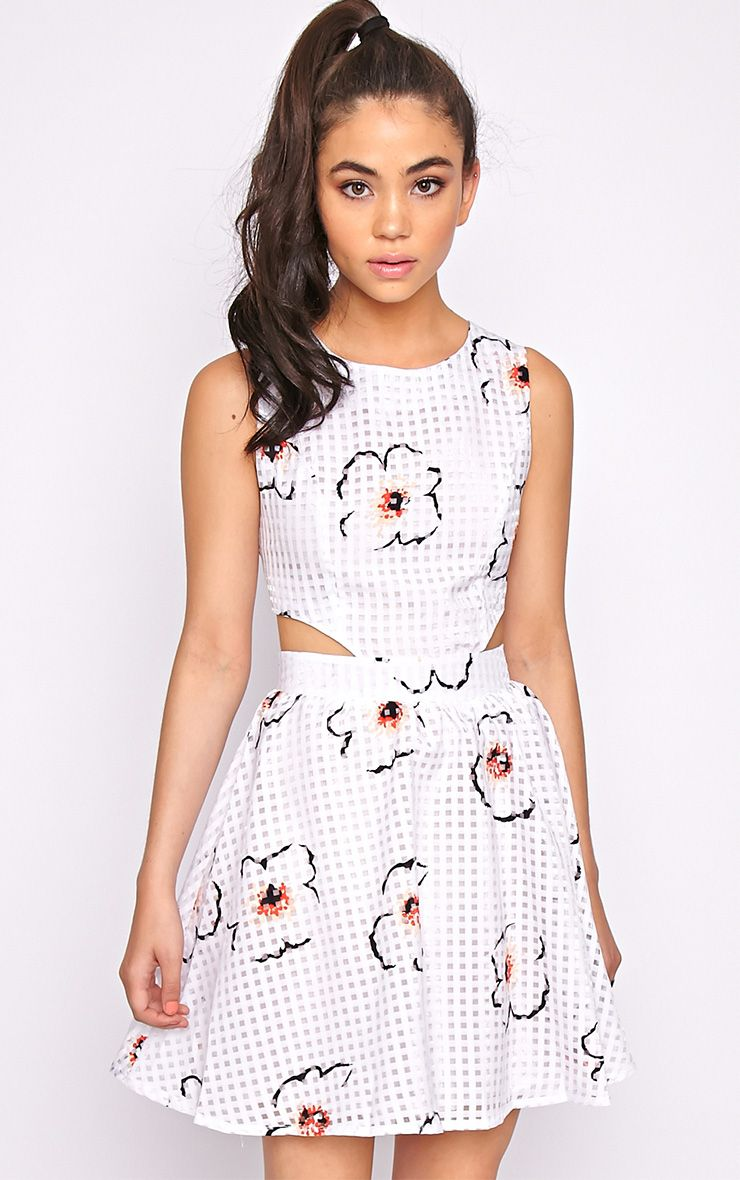 Kyra White Check Floral Cut Out Skater Dress 1