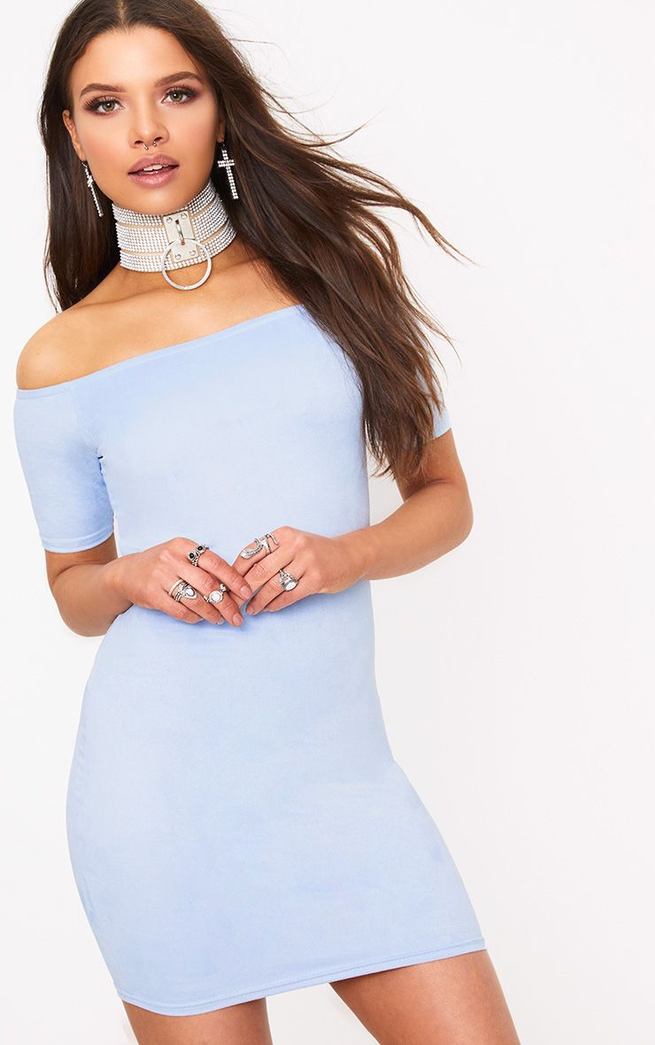 Cassandra Blue Suede Bardot Cap Sleeve Bodycon Dress