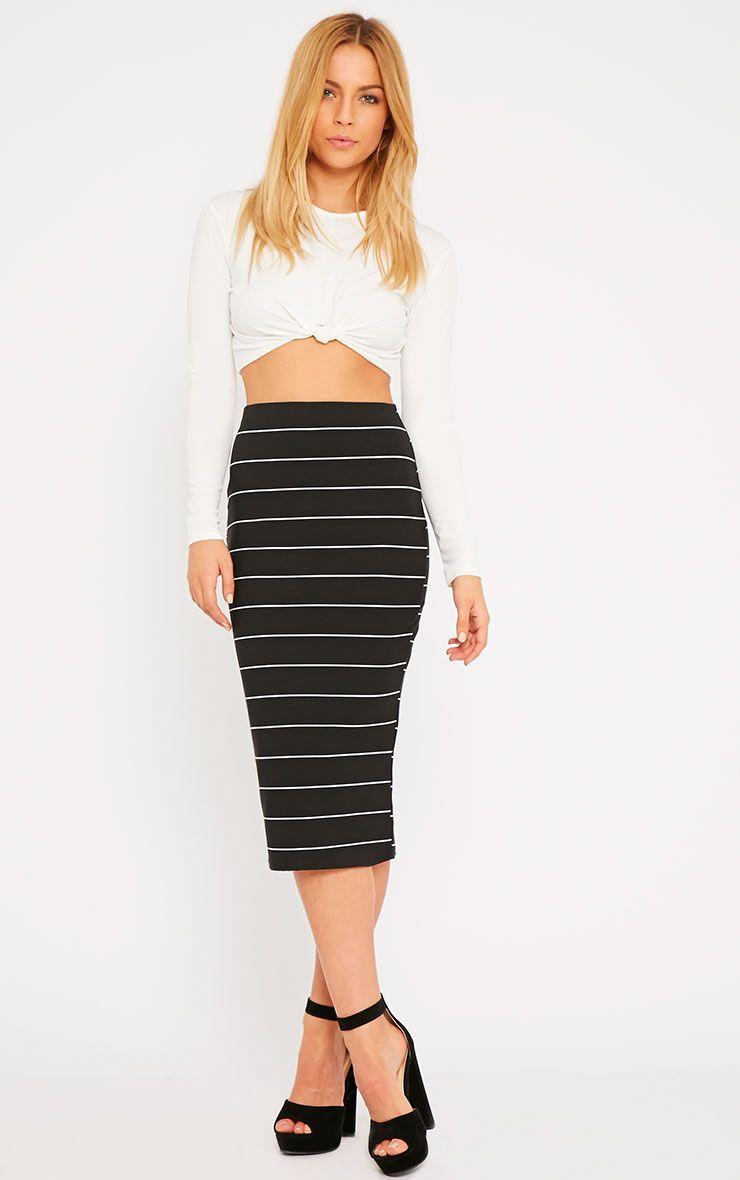 Lorin Black Thick Stripe Midi Skirt 1