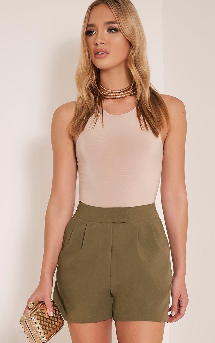 Viona Khaki Tailored Shorts 1