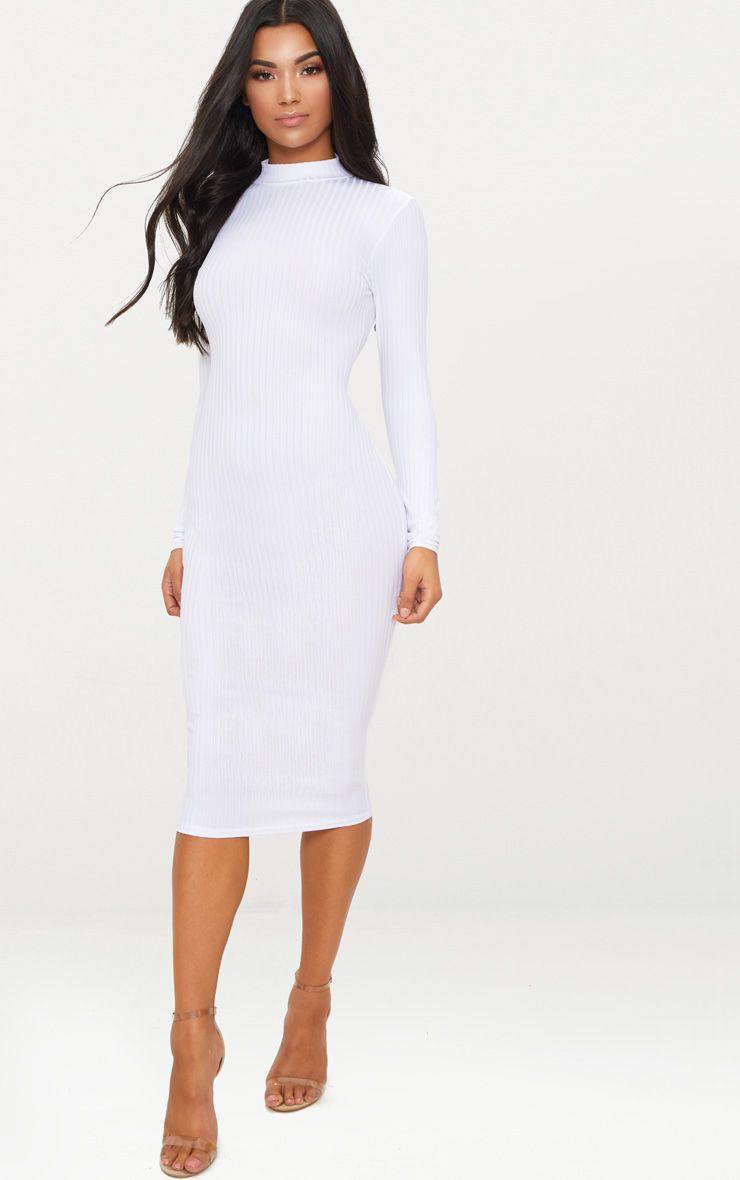 White Rib High Neck Long Sleeve Open Back Midaxi Dress