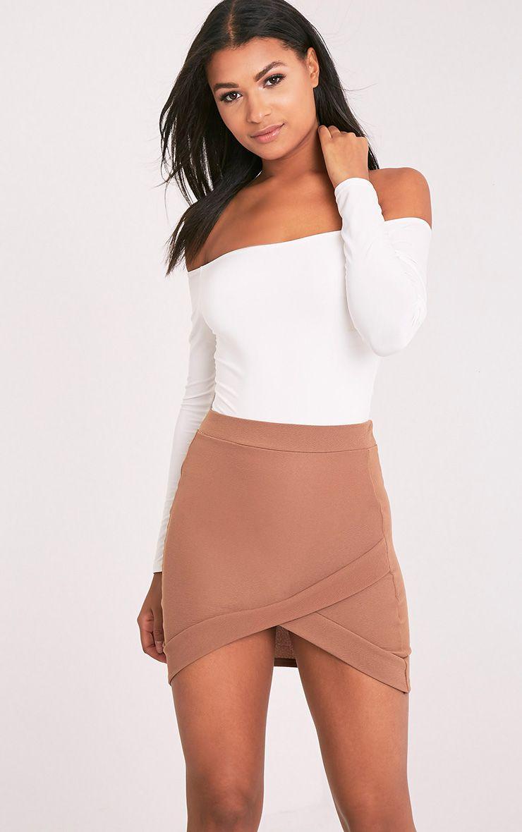 Gabriella Camel Asymmetric Mini Skirt 1