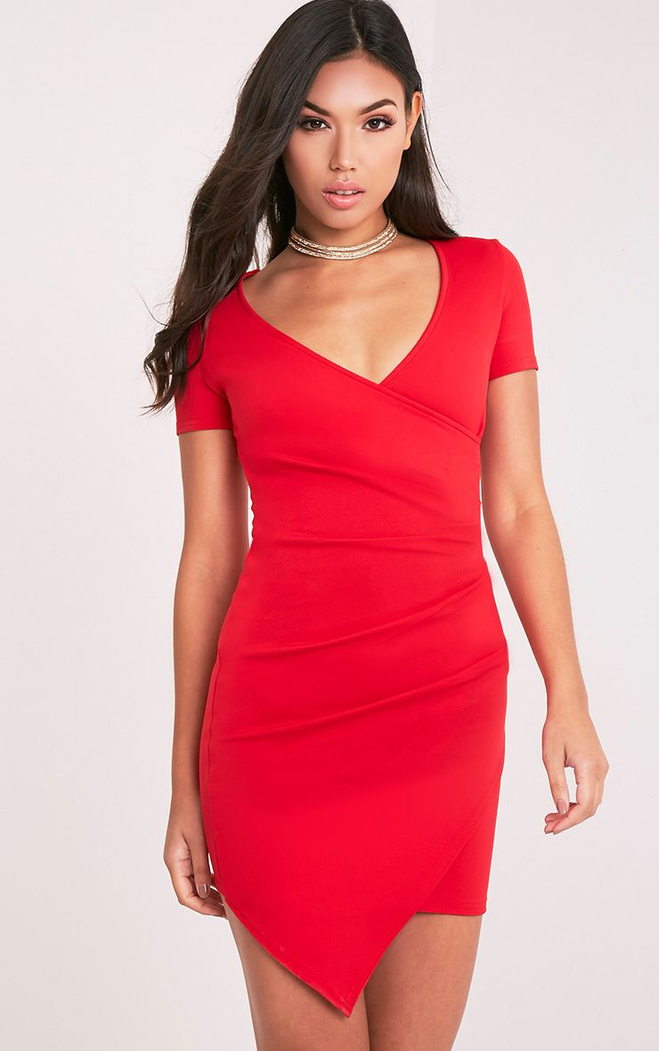 Amarnie Red Capped Sleeve Crepe Bodycon Dress 1