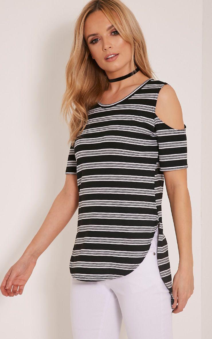 Andie Black Striped Cold Shoulder T Shirt 1