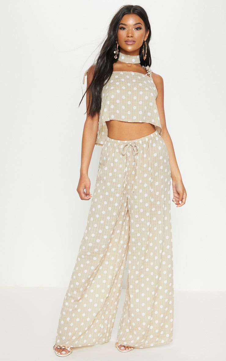 Stone Cheesecloth Polka Dot Wide Leg Trousers