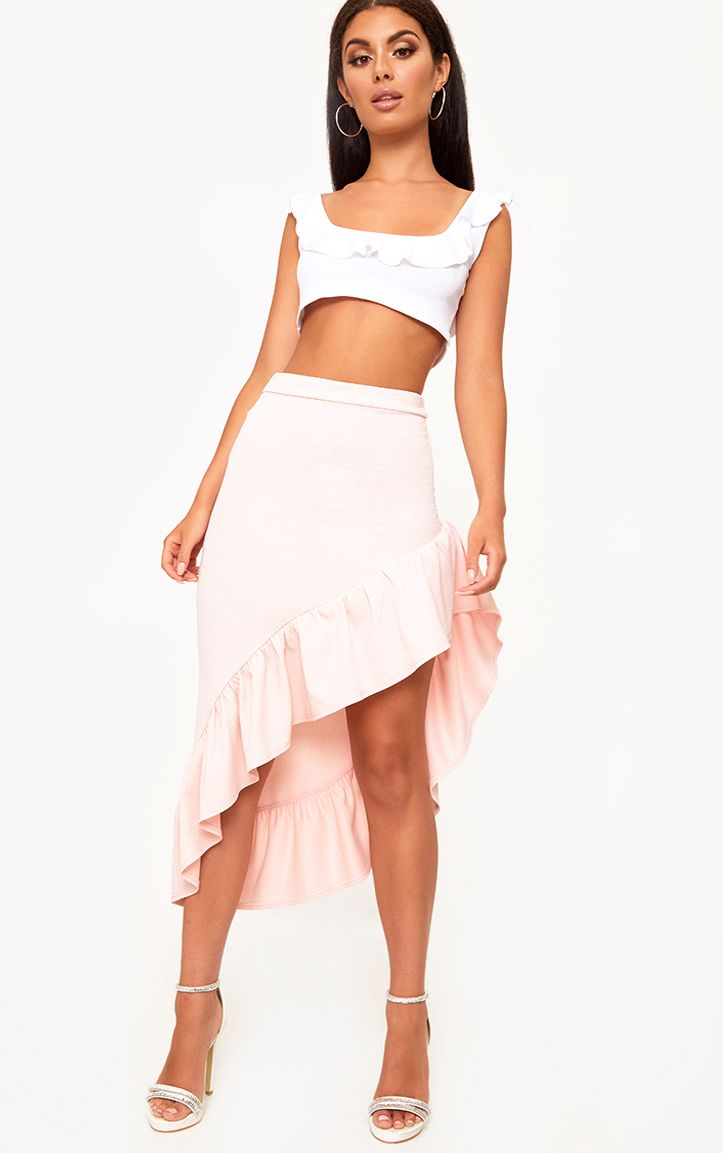 Blush Asymmetric Frill Hem Midaxi Skirt