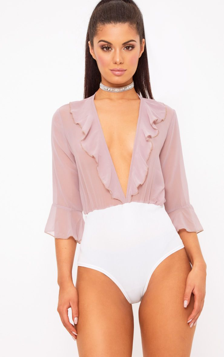Daisey Mauve Sheer Frill Plunge Thong Bodysuit