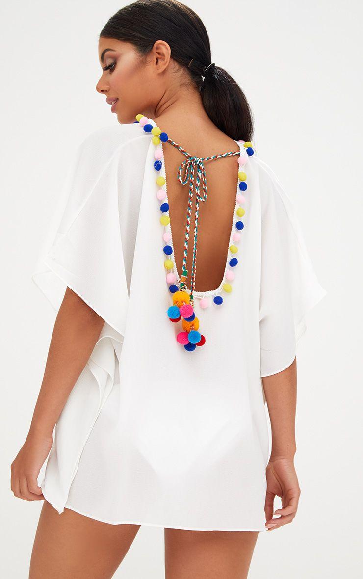 White Pompom Trim Beachwear Kimono