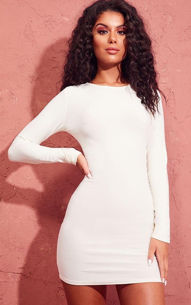 Cream Long Sleeve Bodycon Dress 1