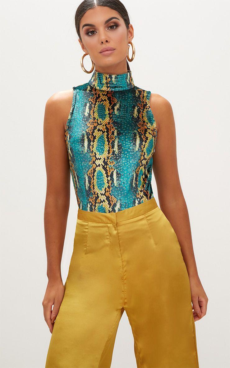 Green Velvet Snake Print Sleeveless Thong Bodysuit