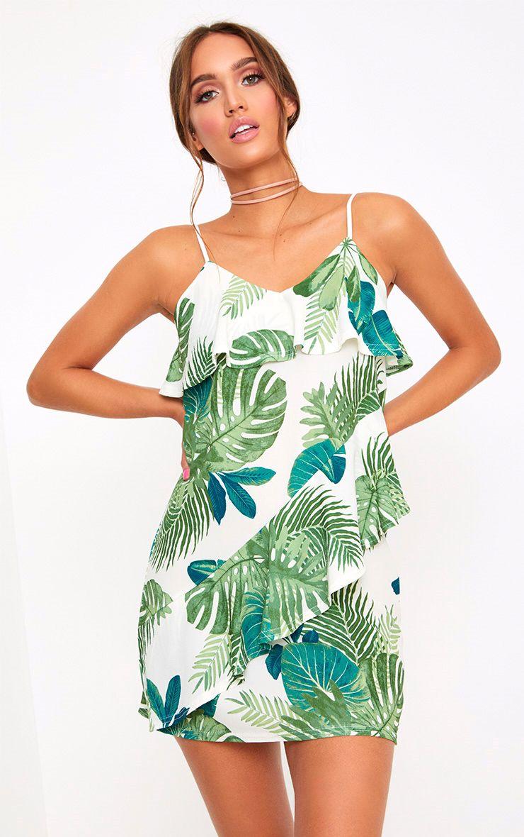 White Leaf Print Frill Shift Dress