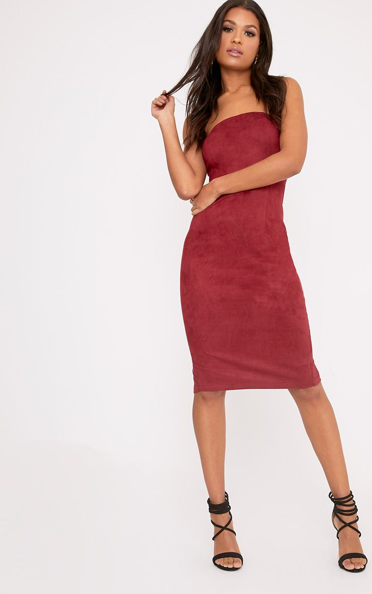 Kiya Burgundy Faux Suede Bandeau Midi Dress