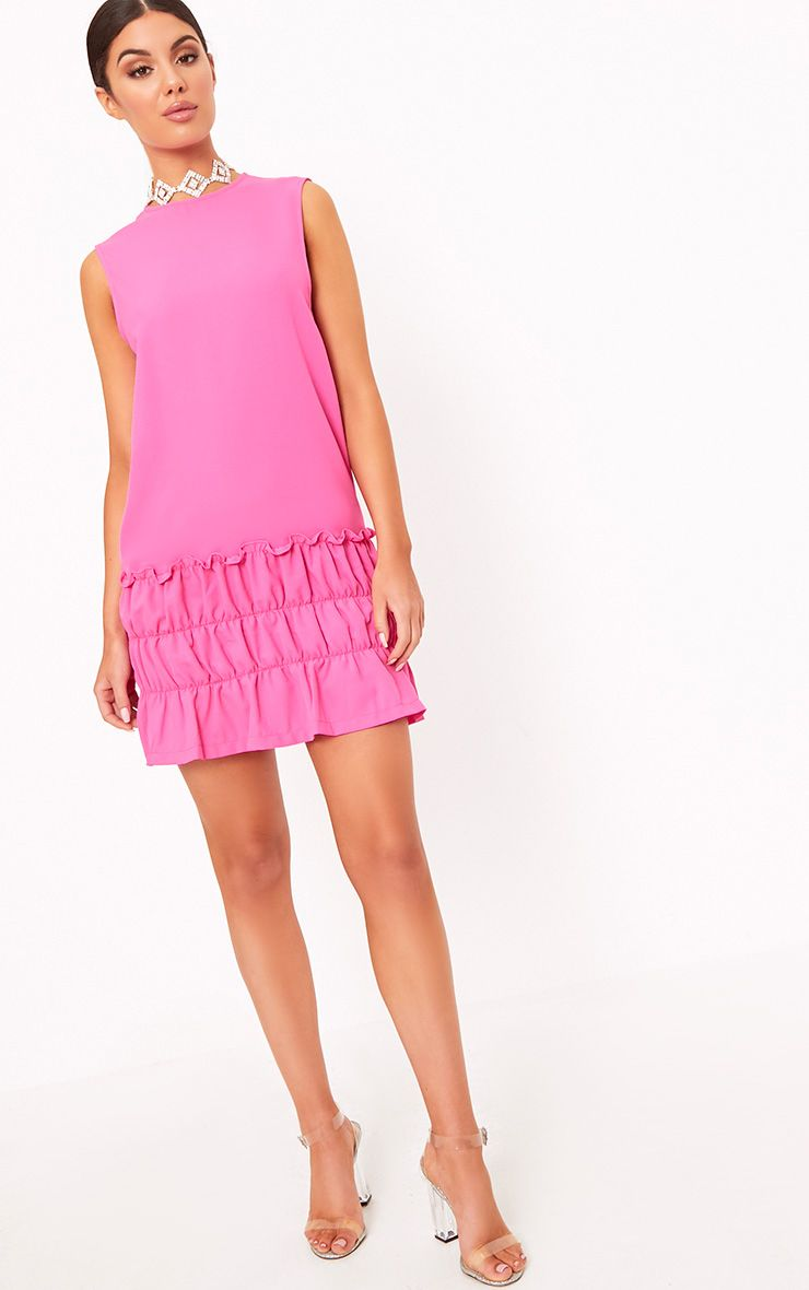 Salinda Fuchsia Sleeveless Ruffle Detail Shift Dress
