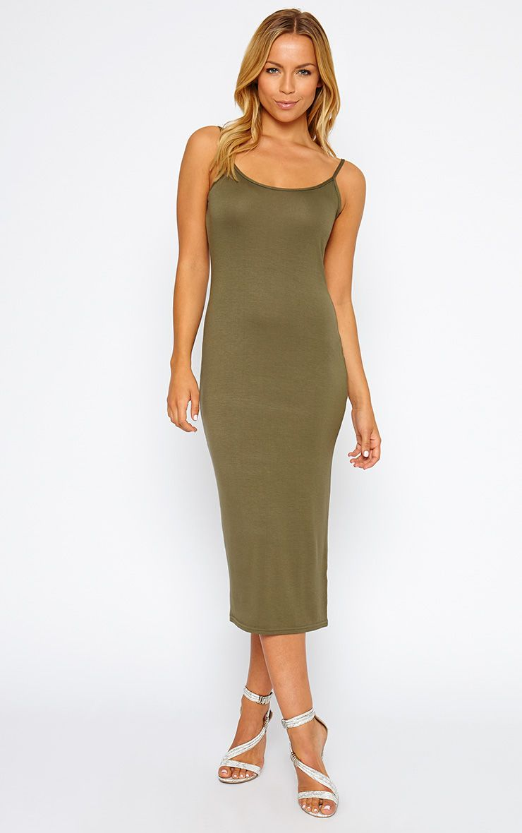 Madelyn Khaki Midi Vest Dress 1