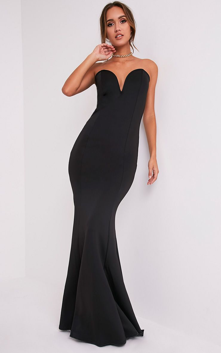 Wendie Black Sweetheart Fishtail Maxi Dress