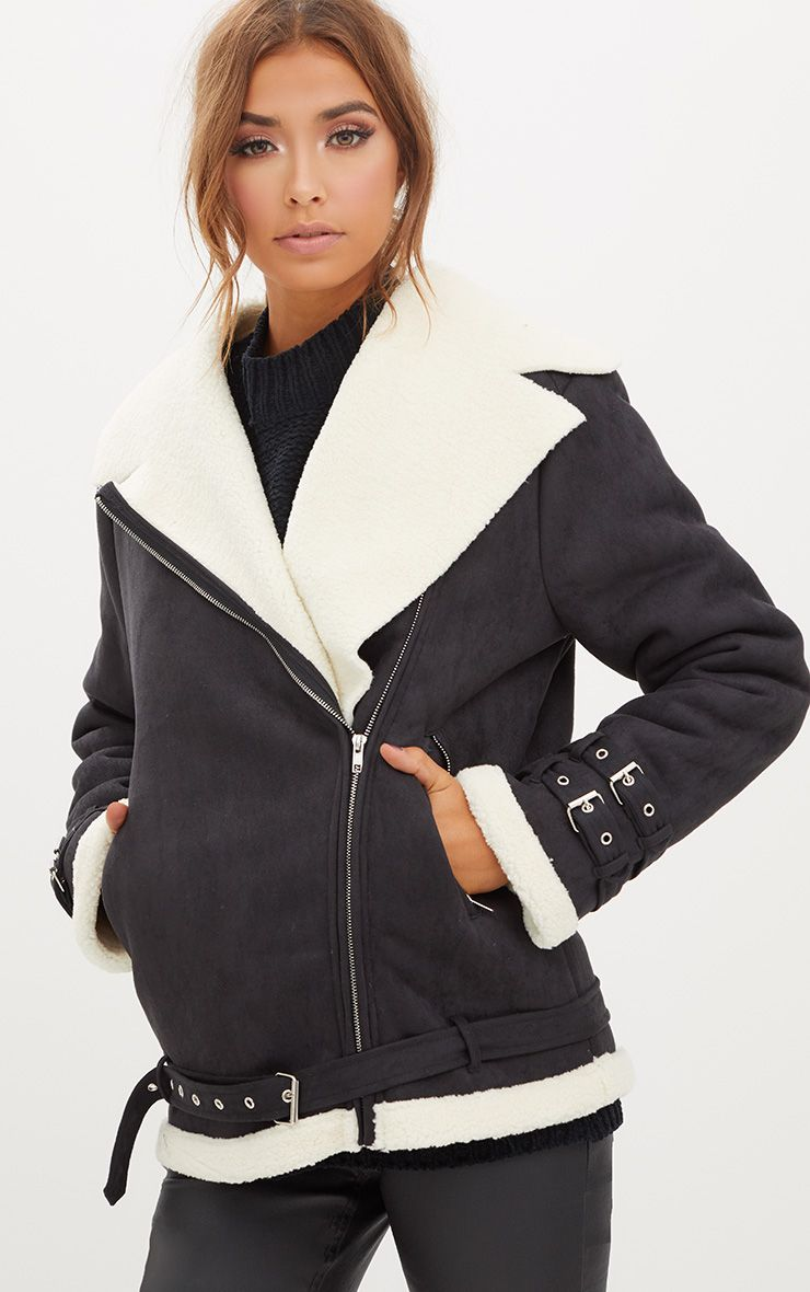 Black Faux Suede Aviator Jacket With Cream Faux Fur