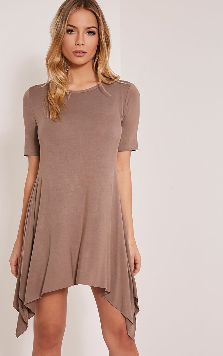 Trudi Taupe Raw Edge Asymmetric  Hem Dress 1
