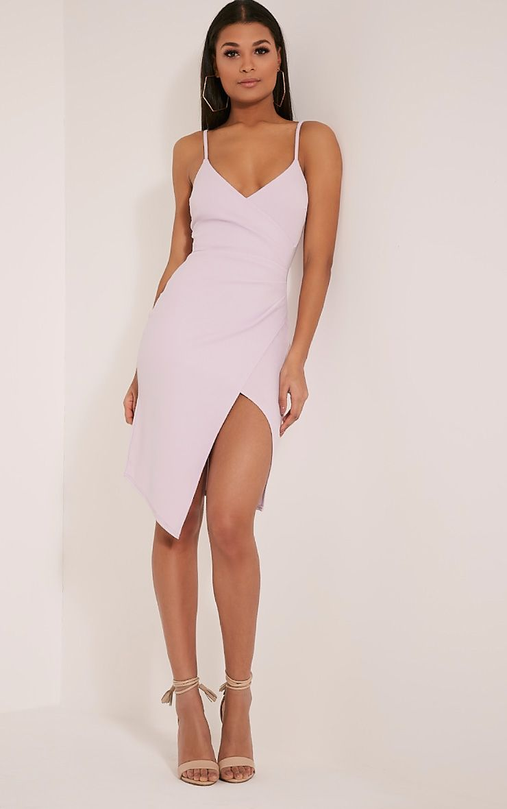 Lauriell Mauve Wrap Front Crepe Midi Dress