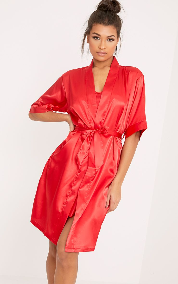 Cherrie Red Satin Nightie and Robe Set