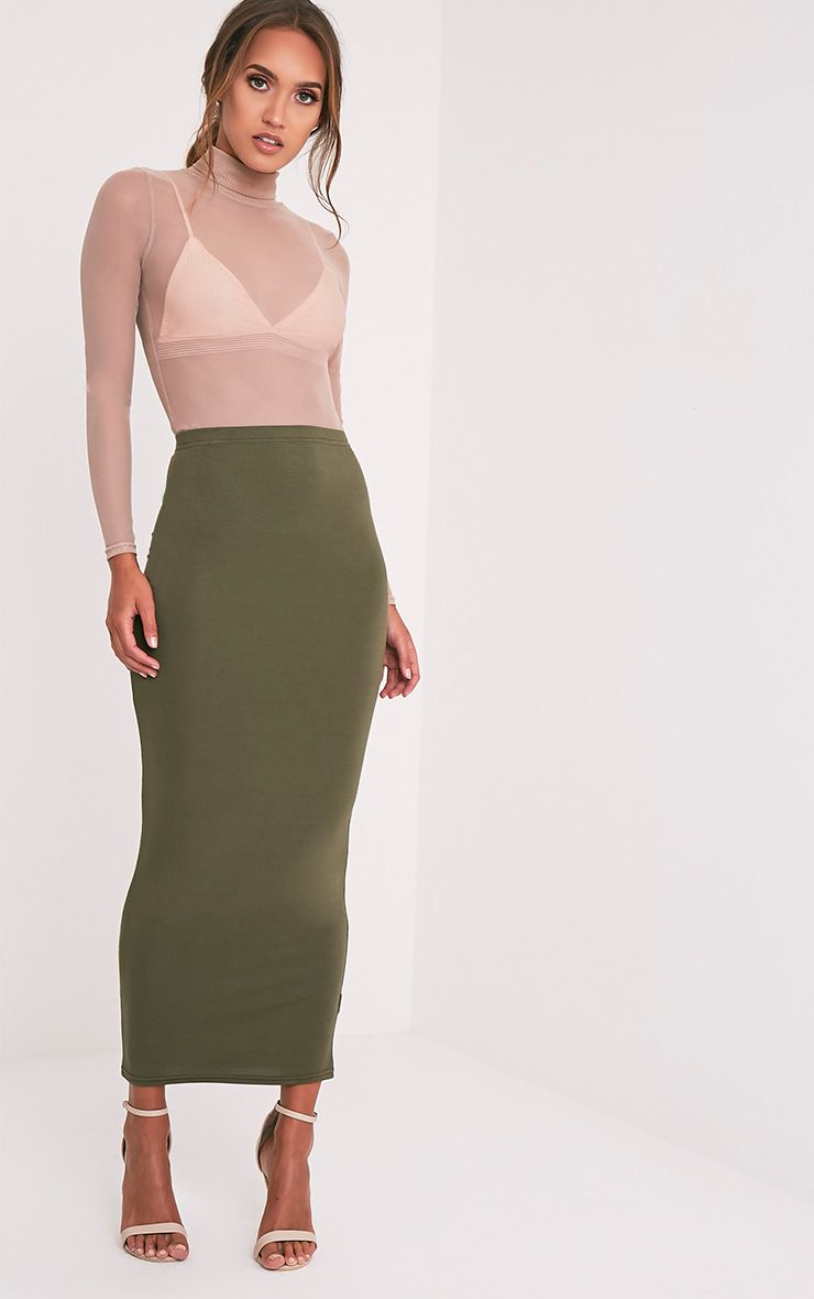 Basic Khaki Midaxi Skirt