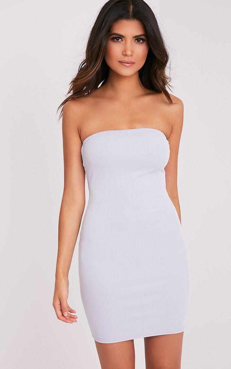 Kissia Ice Grey Bandage Bandeau Dress 1