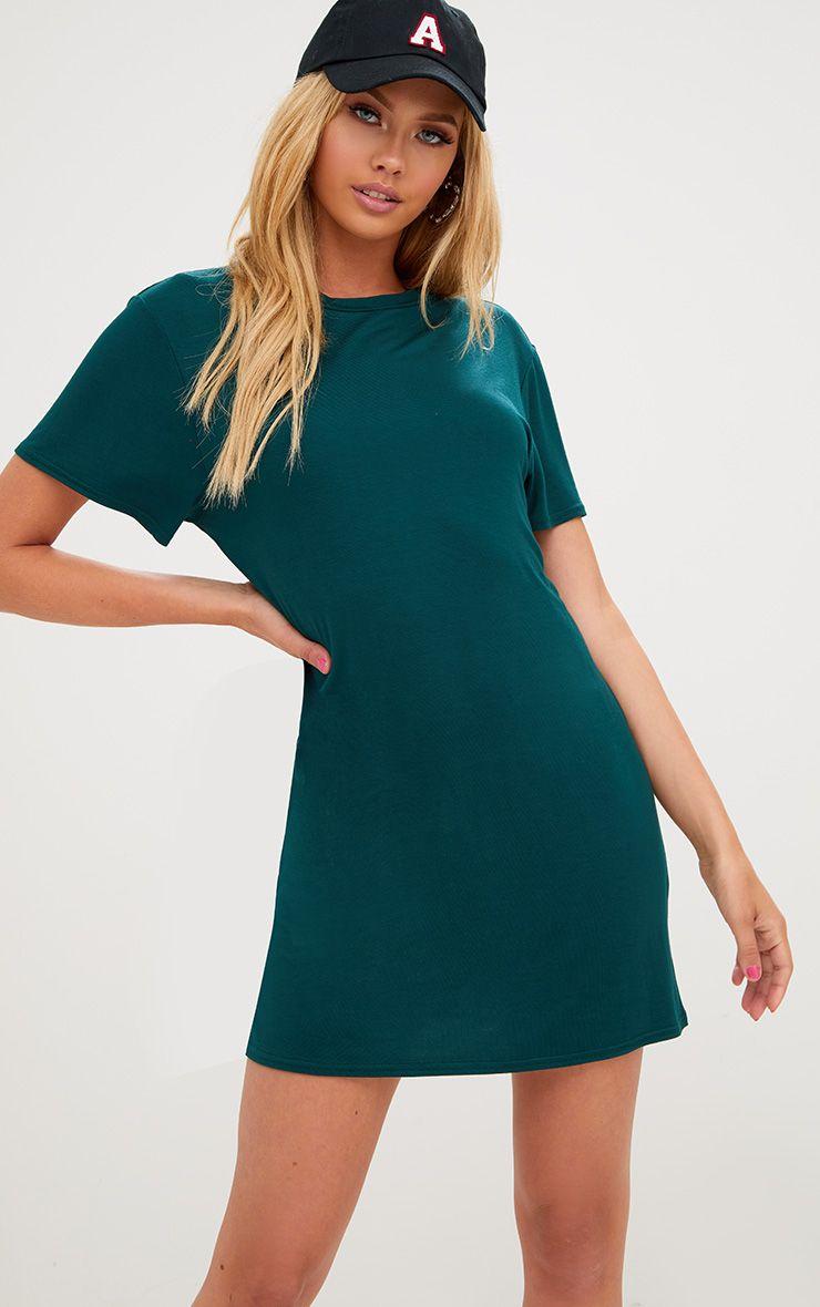 Basic Forest Green Short Sleeve T-Shirt Dress