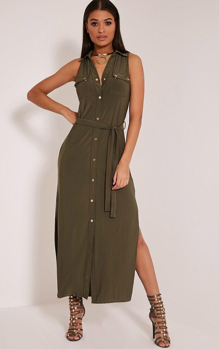 Marsia Khaki Sleeveless Utility Maxi Dress 1