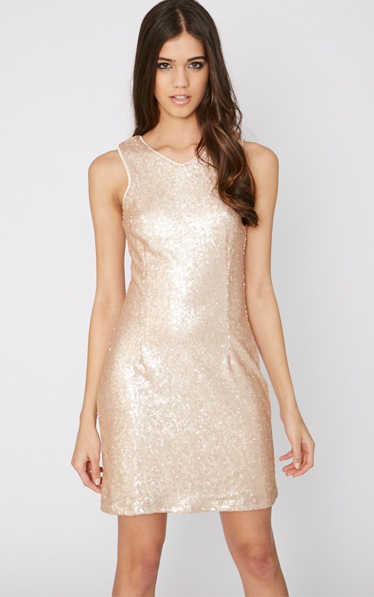 Lavinia Nude Sequin Dress 1