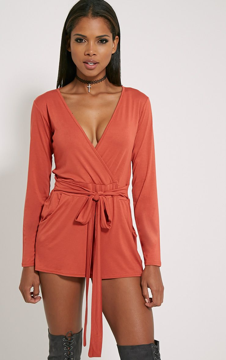 Jessey Rust Jersey Wrap Playsuit 1