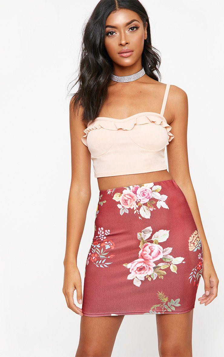 Burgundy Floral Embroidered Print Mini Skirt