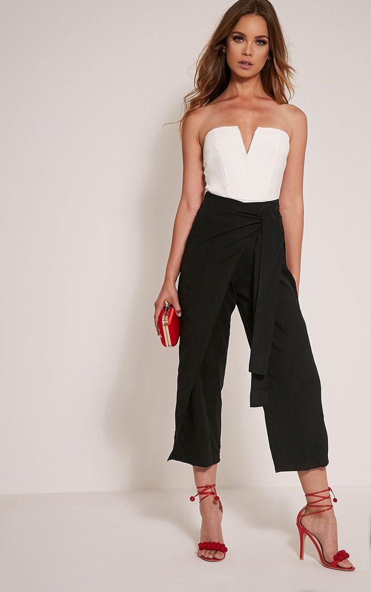 Shirley Black Wrap Tie Culottes 1