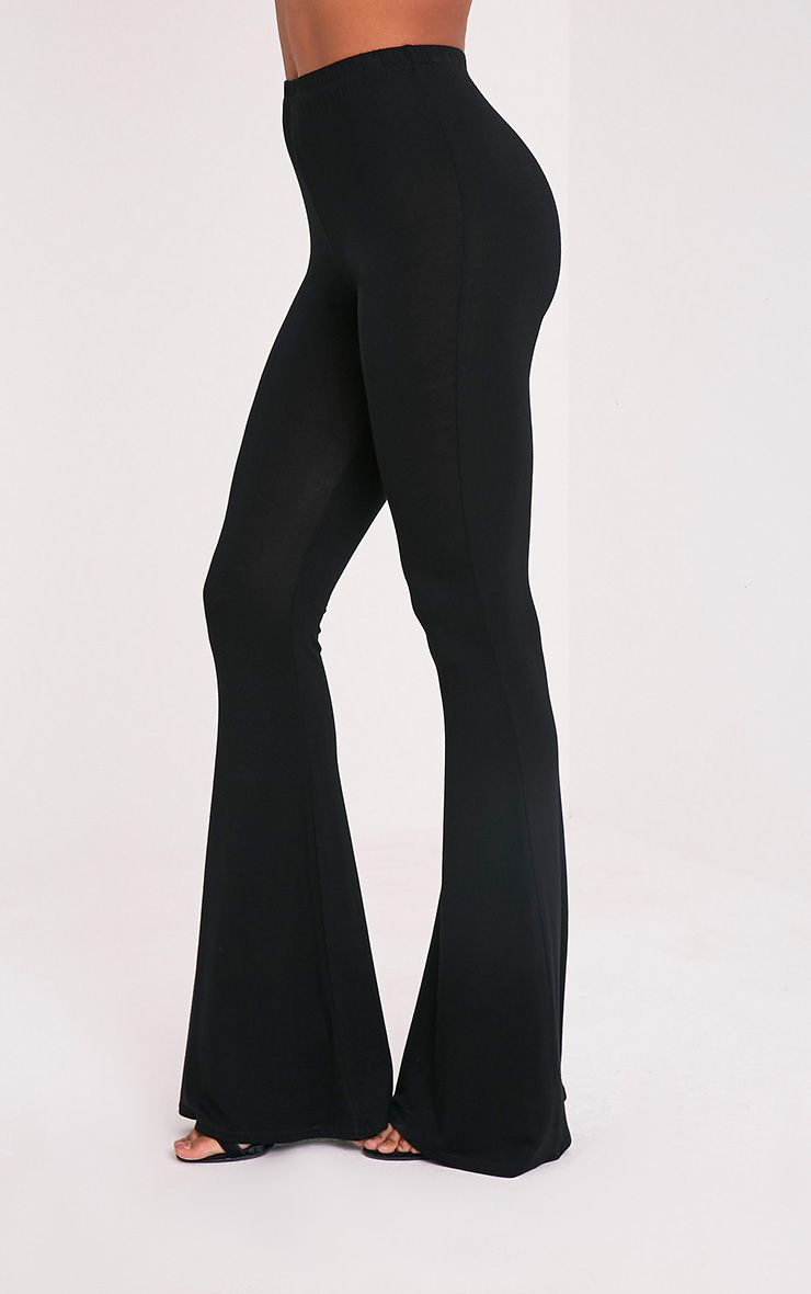 Basic Black Jersey Flared Trousers Trousers