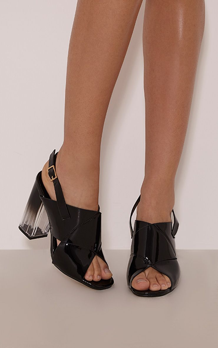 Roni Black Patent Clear Heel Sandals 1