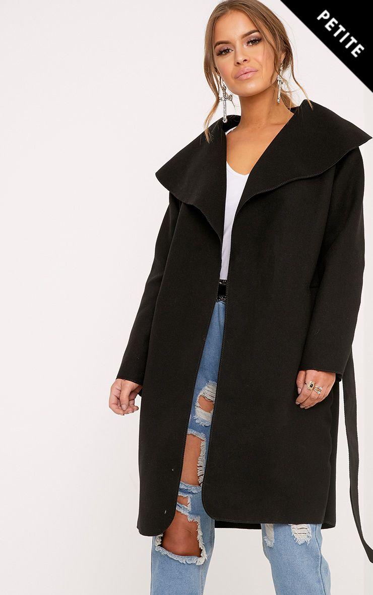 Petite Veronica Black Oversized Waterfall Belt Coat