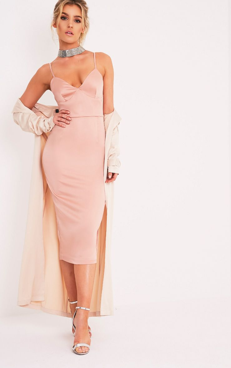 Aisha Nude Satin Panel Midi Dress