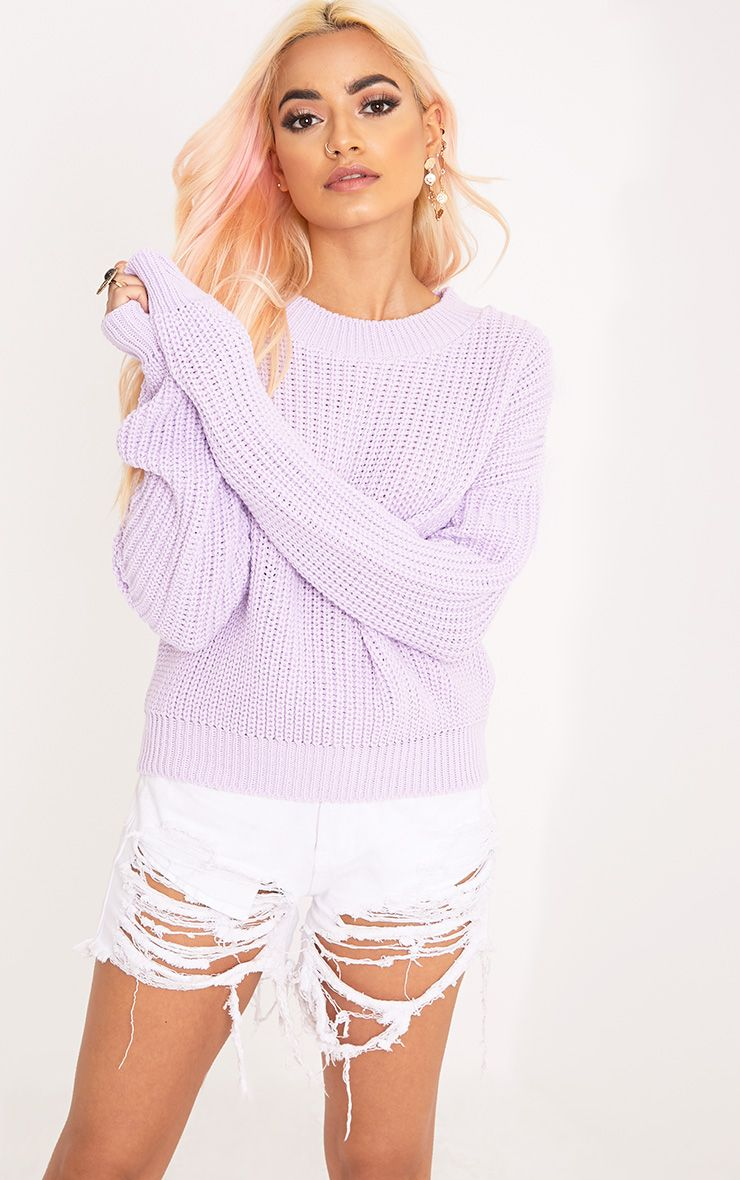 Cara Lilac Cropped Knit Jumper