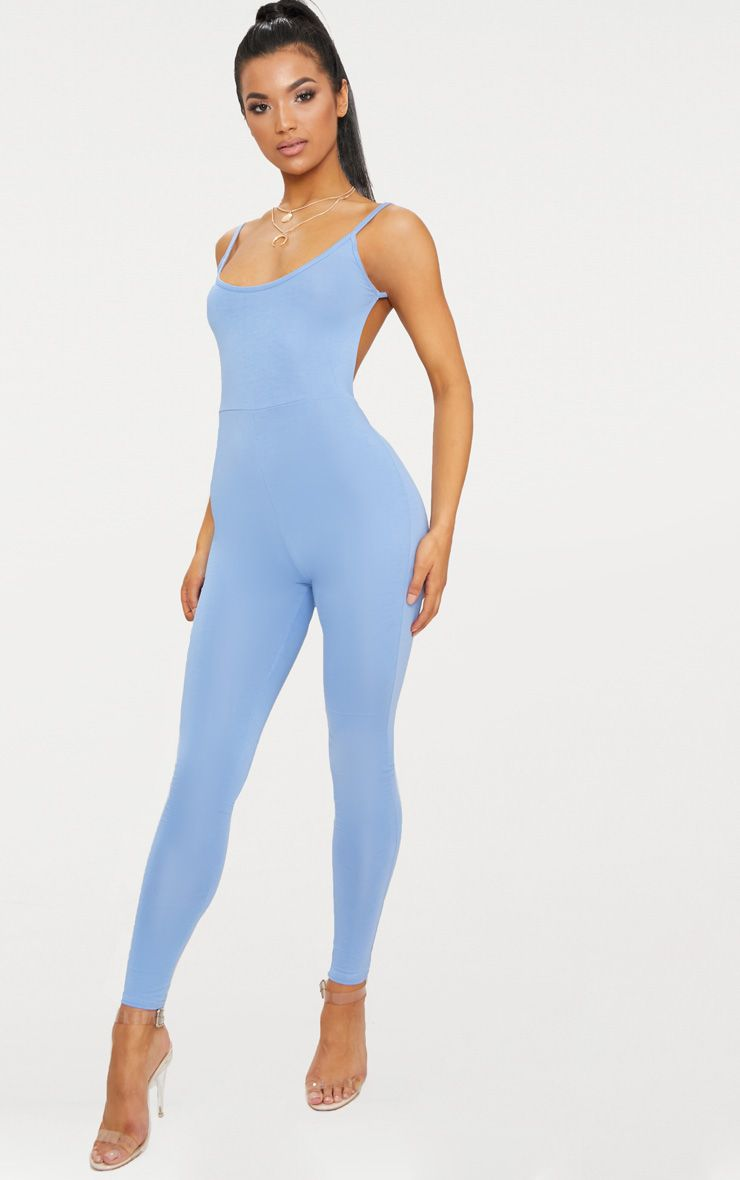 Dusky Blue Scoop Neck Backless Jumpsuit