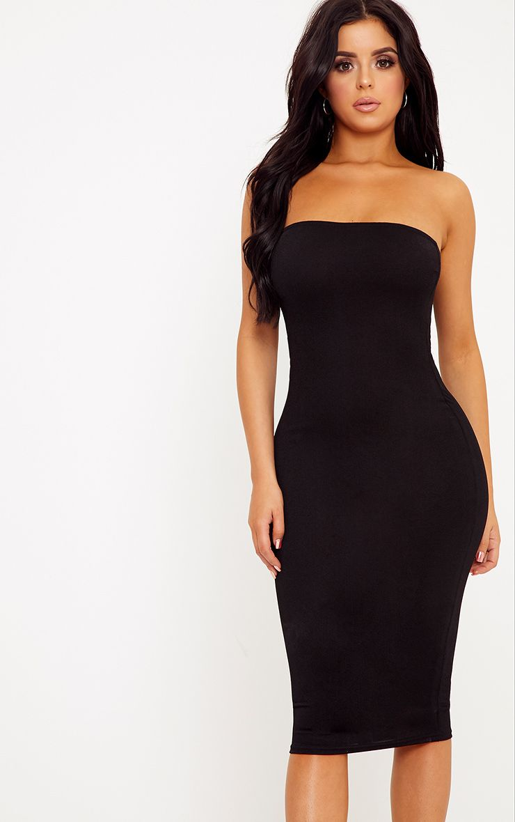 Shape Amber Black Plain Bandeau Dress