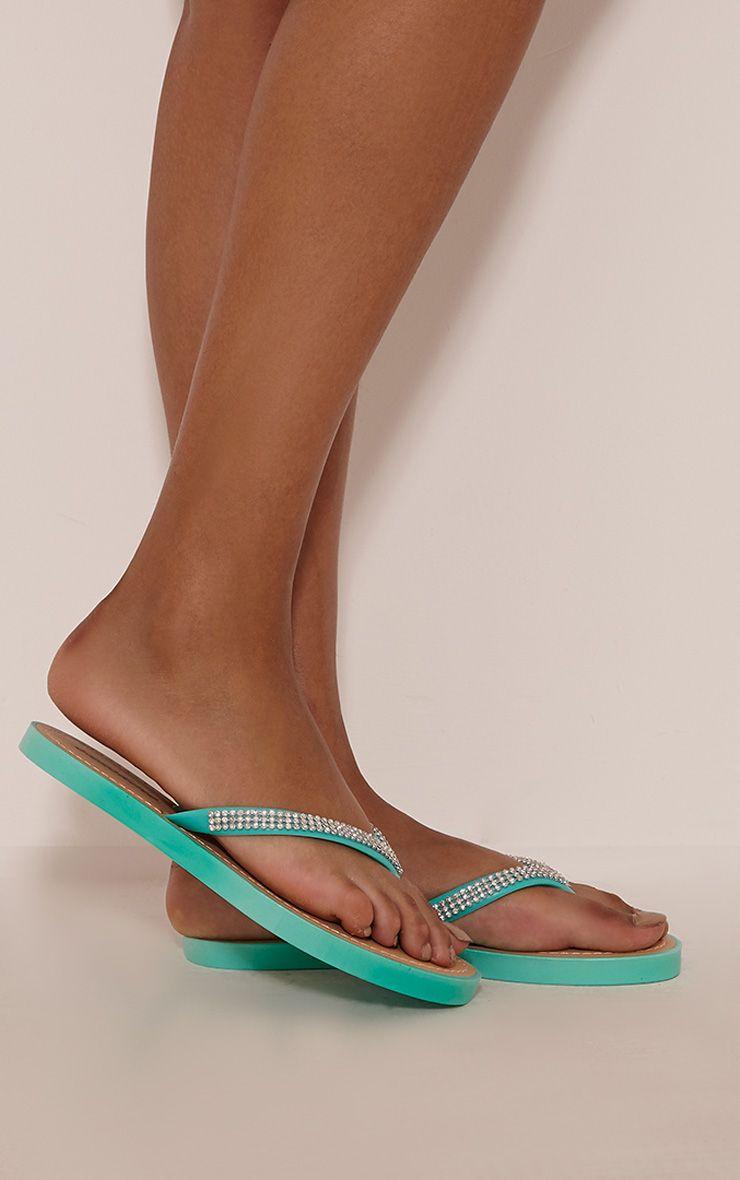 Corinne Mint Diamante Flip Flops