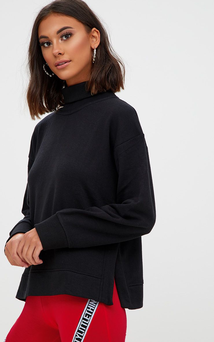 Black High Neck Oversized Longsleeve Sweater