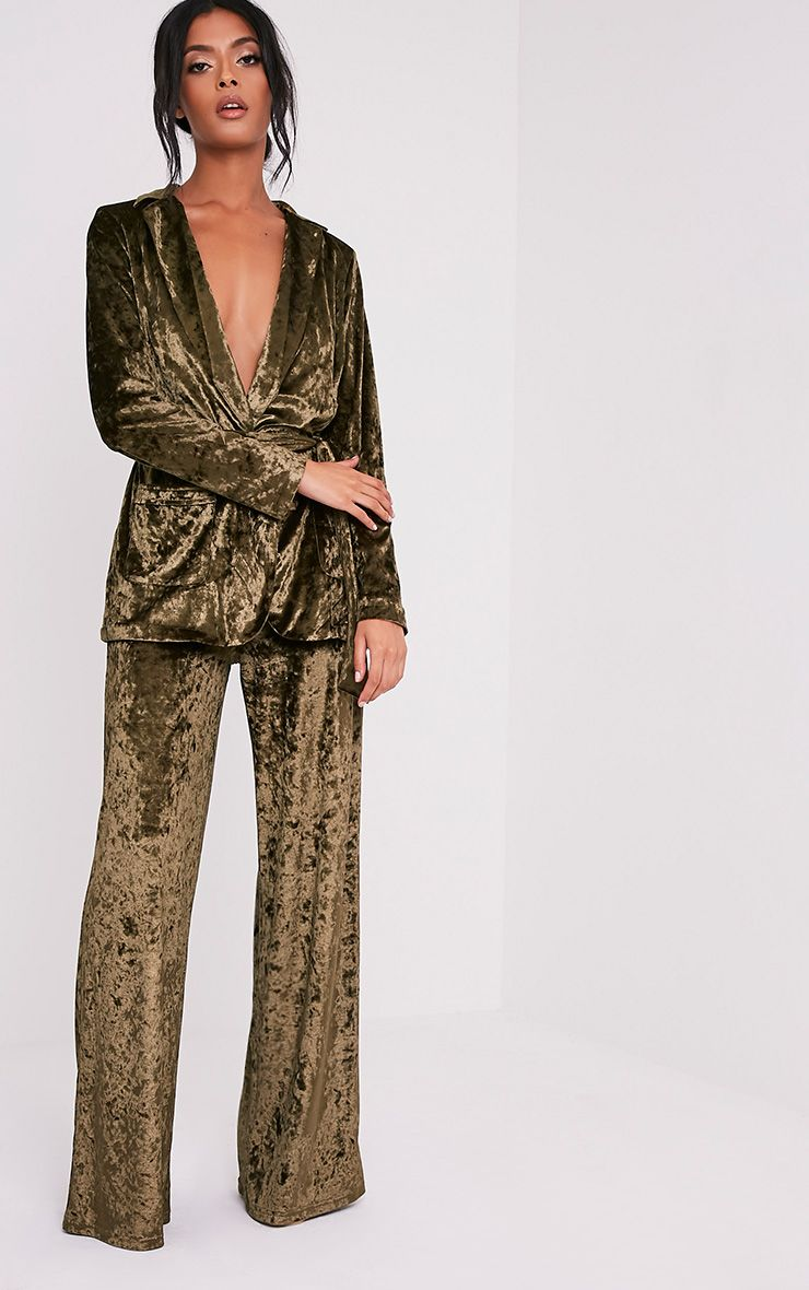 Marisha Khaki Crushed Velvet Wide Leg Trousers