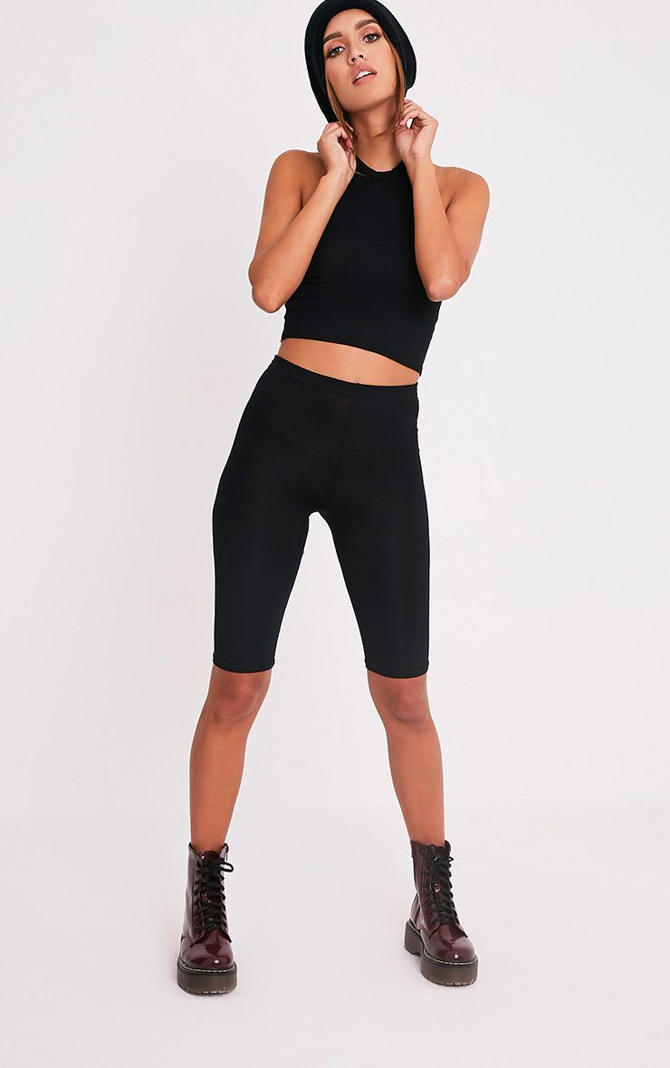 Basic Black Jersey Racer Back Crop Top 5
