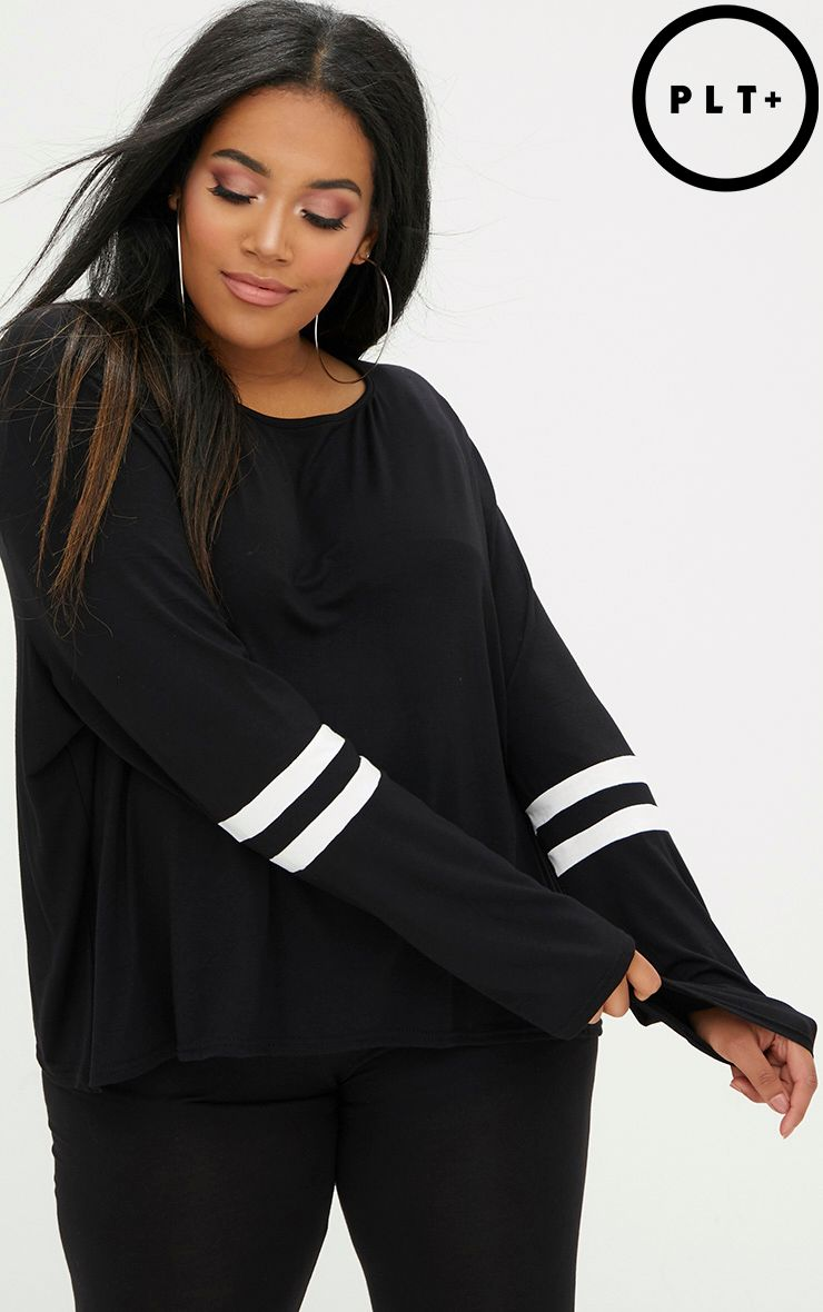 Plus Black/White Sports Stripe Oversized Top