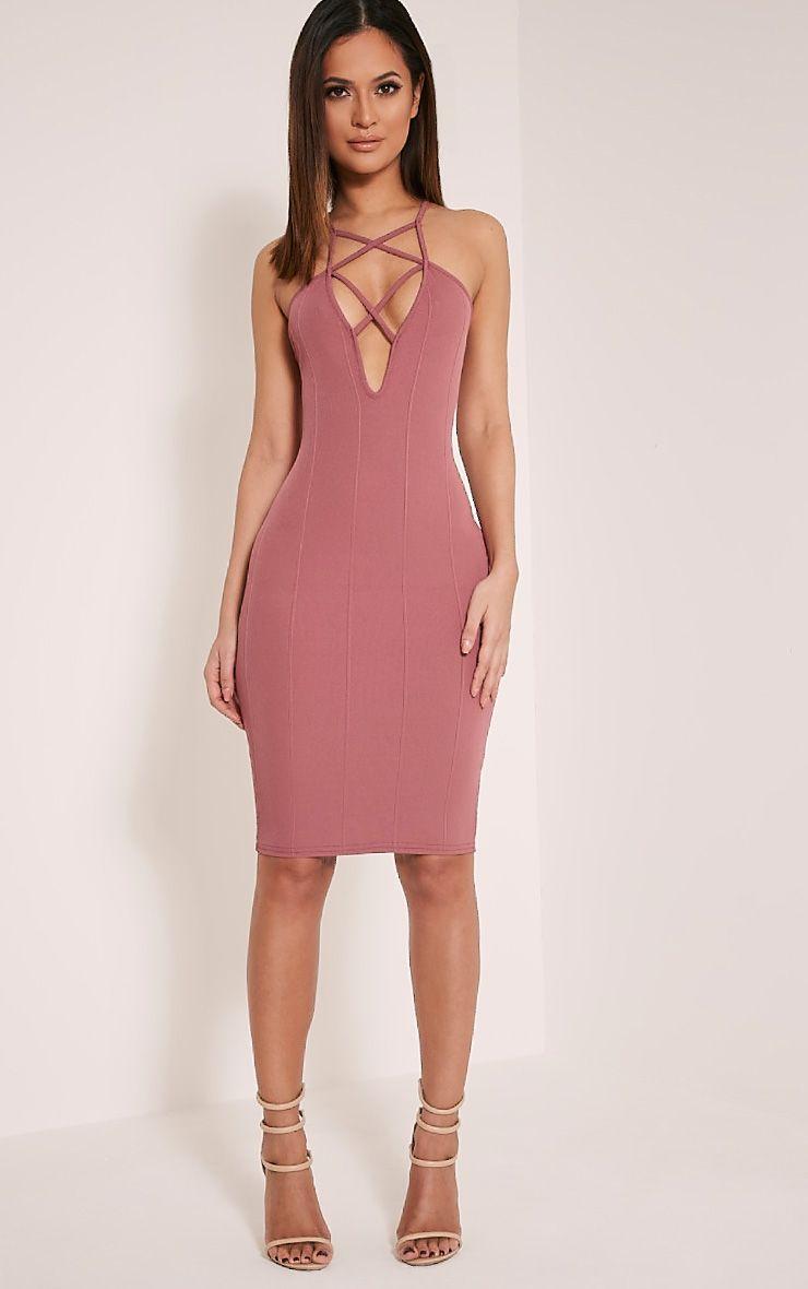 Zavia Rose Strap Detail Bandage Midi Dress 1