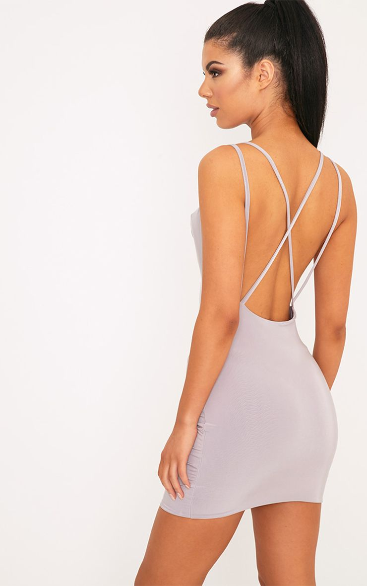 Eleonora Lilac Grey Strappy Back Cowl Neck Bodycon Dress