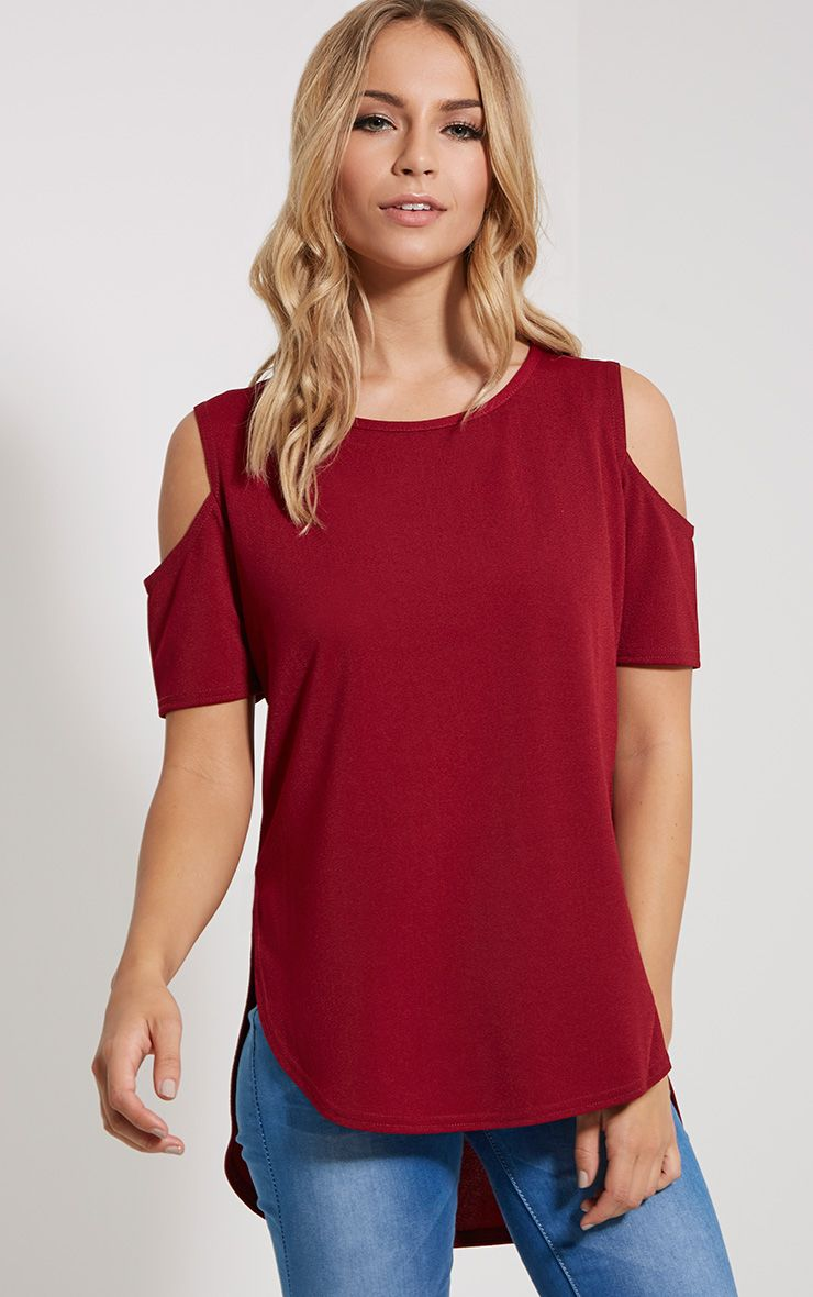 Eugene Wine Cold Shoulder Crepe Drop Hem Top 1