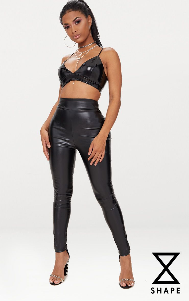 Shape Black Matte PU Leggings
