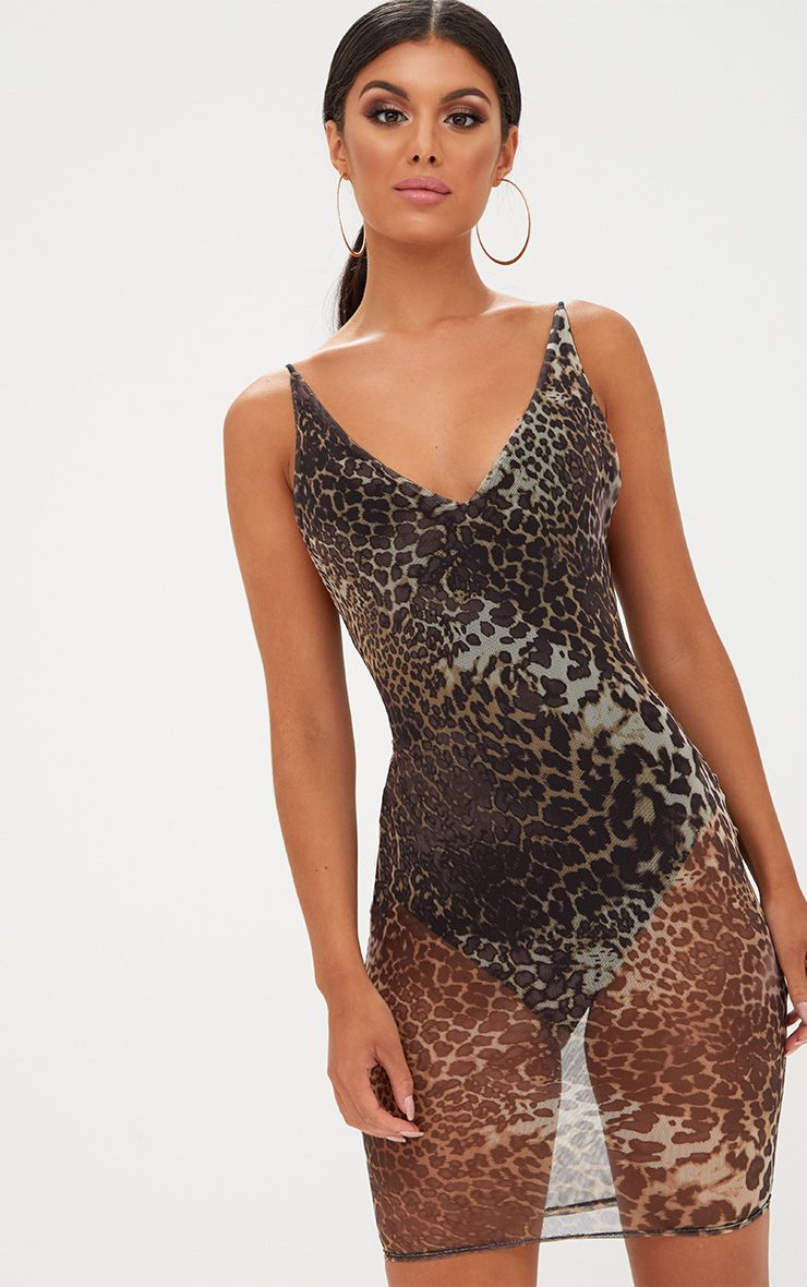 Leopard Print Mesh Bodycon Dress